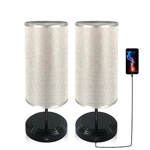 [2 Pack]Lámpara Mesilla de Noche Táctil, Bomcosy Lampara de Noche Regulable, USB Alimentado, Base...