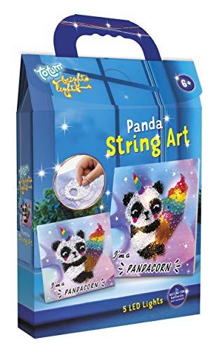 Fadenbild Bastelset – süßes Panda Fadenbild zum Selbermachen, DIY Dekoration mit Lichterkette