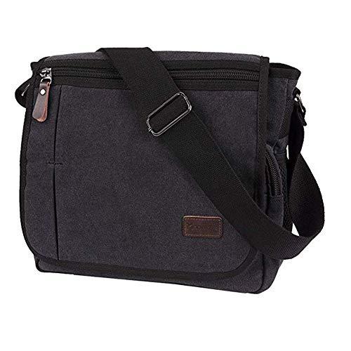 Modoker Messenger Bag for Men Women, 13 Inches Laptop Satchel Bags, Canvas Shoulder Bag with Bottle Pocket, Black