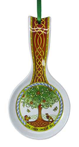 New Bone China Spoon Rest With The Celtic Tree Of Life Design, 22Cm