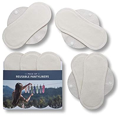 Reusable Panty Liners, 7-Pack of Washable Bamboo Cloth Pantyliners with Wings, Eco Sanitary Towels Made in EU, Thin Organic Dailies Pads for Daily Usage Light Flow, Vaginal Discharge, NOT for Period