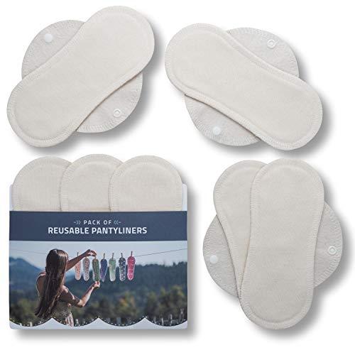 Natissy Salvaslips de tela reutilizables, 7-Pack Protege Slips de bambú con alas HECHAS EN LA UE, Compresas Ecológicas sin PUL, Toallas Sanitarias para uso diario y flujo blanco, NO para menstruación