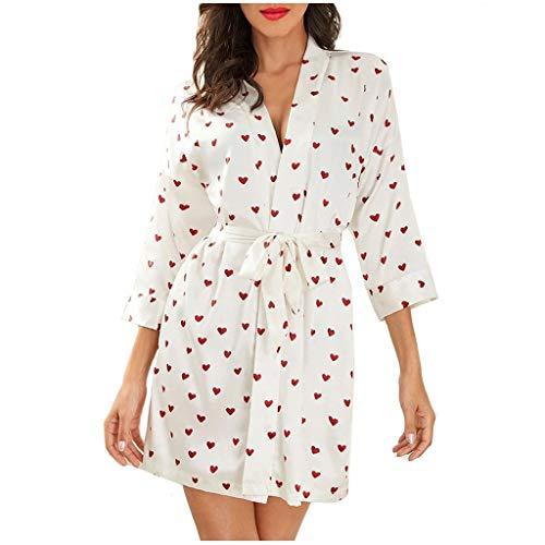 AxiBa Lingerie Feminina Fofo Coração Estampado Robe Cetim Calções Camisole Shorts Pijama