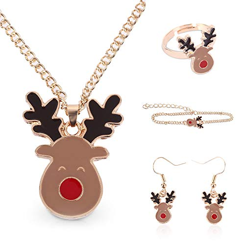 paomo Juego de joyas de Navidad, collar + pulsera + anillo + pendientes, mini estilo cuerno de Navidad, joyas hechas a mano