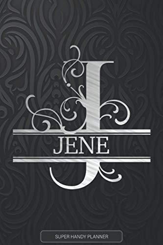 Jene: Silver Monogram Letter J The Jene Name - Jene Name Custom Gift Planner Calendar Notebook Journal
