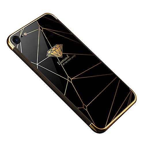 Surakey Cover Compatible con iPhone 7/8, Ultra Sottile Plastic Rigida Custodia con Disegni Lusso Hard Case Bordo in Silicone Antiurto Lucido Effetto Specchio Protettiva Cover,Diamante Nero