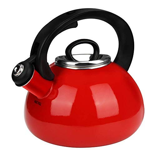 Whistling Tea Kettles, AIDEA 2.3 Quart Ceramic Tea Kettle for Stovetop, Enameled Interior Tea Pot for Anti-Rust, Audible Whistling Hot Water Kettle for Kitchen, Christmas Gift - Red