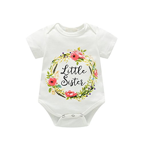 Brightup Little Sister Big Sister Passende Kleidung Baby Mädchen Baumwolle Strampler mit Kindern Kleinkind Shirts 0-7 Jahre, 0-3 Monate
