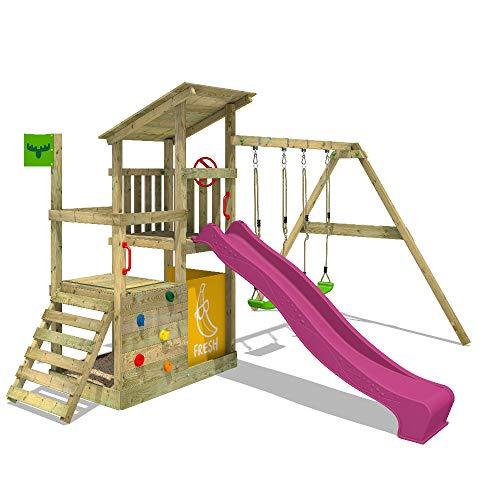 FATMOOSE Spielturm Klettergerüst FruityForest mit Schaukel & violetter Rutsche, Kletterturm mit Sandkasten, Leiter & Spiel-Zubehör