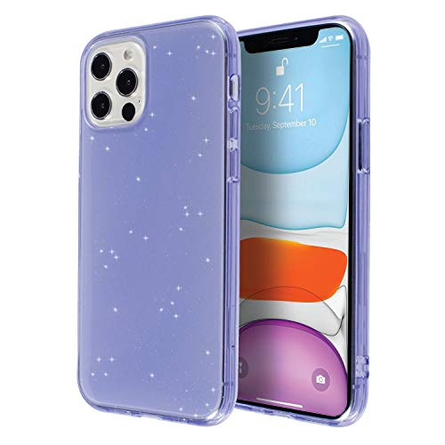 Insten Glitter Case Compatible with iPhone 12 Pro Max Case 6.7 Inch, Soft TPU Sparkle Protective Cases, Shock Absorption, Crystal Clear Purple Bling Shinny Slim Cover for Women Girls