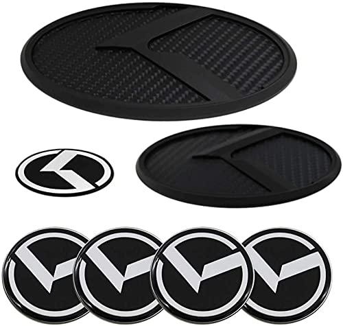 ZYOZY 7PCS KIA Emblem Decal Badge Front + Rear + Steering Wheels + Wheel Hub Emblem Compatible with KIA 2011-2020 Optima K5, KIA 2017+ Forte Sedan , K3 , Cerato (Carbon Fiber Black)