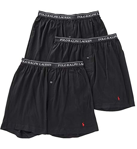 Polo Ralph Lauren Classic Fit w/Wicking 3-Pack Knit Boxers Black/Red Pony Player MD