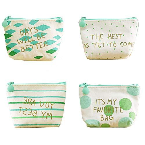 CAILI 4-teilig Mini Geldbörse für Damen, Einfache Leinwand-Geldbörse, Niedliche Mini-Reißverschluss-Geldbörse, Kreative Damen-Auto-Schlüsseltasche (Vier Arten)