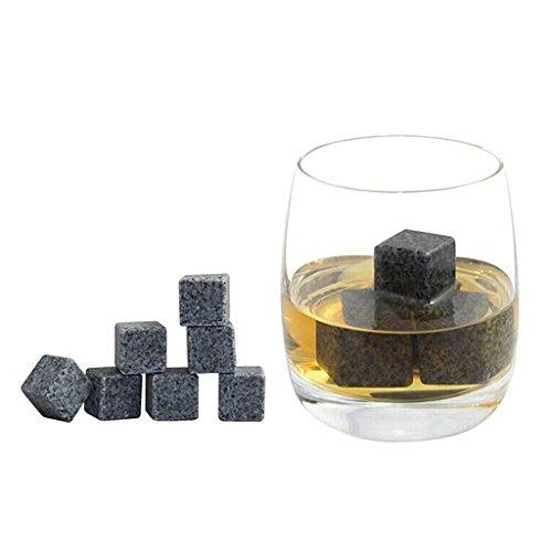 9er Set Whiskey Eis Steine Getränkekühler Speckstein Würfel mit Flanell Taschen