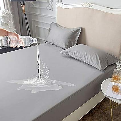 Grau Wasserdichter Matratzenschoner Atmungsaktive Hygienische Matratzenschutz Anti-Allergie Matratzenauflage 90 x 200cm