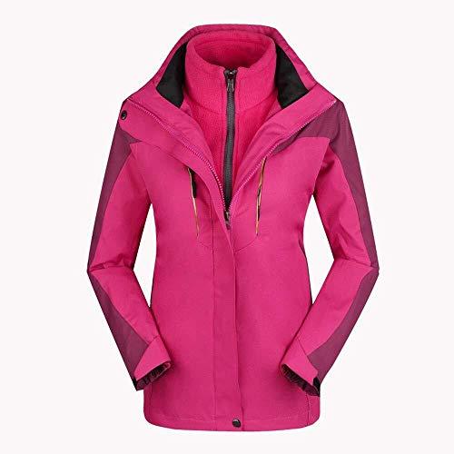 HESHI Skijacke Frauen-wasserdicht Winddicht Warmen Kaschmirmantel Plus Baumwollmantel Im Freien Softshell-Jacke Ideale Skikleidung im Winter (Color : Rosered, Size : Large)