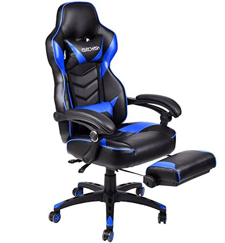 ELECWISH Ergonomic Computer Gaming Chair, PU Leather High Back Office Racing Chairs with Widen Thicken Seat and Retractable Footrest and Lumbar Support, Large, Blue blue chair gaming