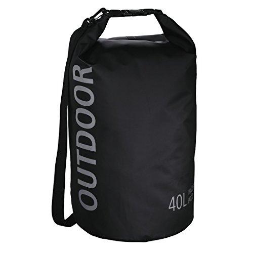 Hama wasserdichter Packsack, 40 l, Dry Bag mit Rolltop Verschluss, Schultergurt, (wasserdichter Seesack aus Tarpaulin, wasserfeste Outdoor Tasche für Rafting, Kajak, Camping) schwarz
