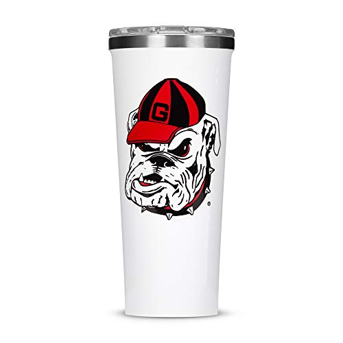 Corkcicle Tumbler - 24oz NCAA Triple Insulated Stainless Steel Travel Mug, University of Georgia Bull Dogs, Big Logo