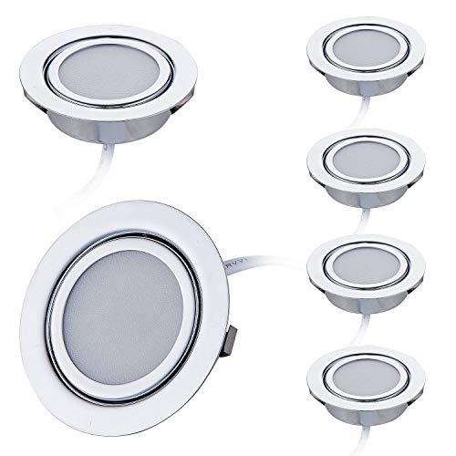 6er Set LED Slim Möbel Einbaustrahler | Chrom glänzend | 230V 3W | Warmweiss 3000K | Bohrloch: 55-60mm - Außendurchmesser: 73mm - Einbautiefe: 25mm | 15cm Anschlusskabel