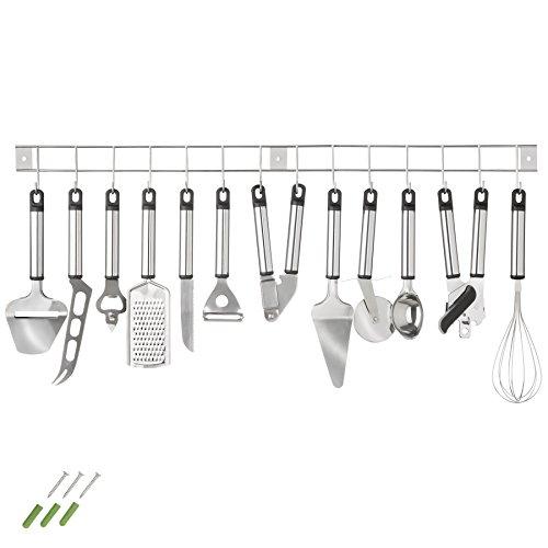tectake Küchenbesteck Küchenhelfer Hängeleiste Küchenutensilien Kochzubehör Set 13teilig