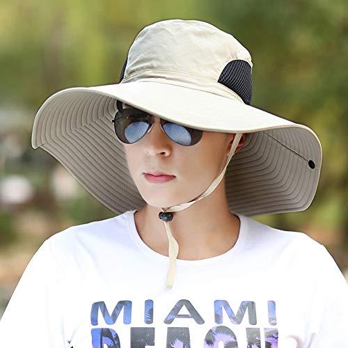 LEOO Premium-Hut mit breiter Krempe, verstellbarem Kinnriemen   Outdoor-Hut zum Angeln, Wandern, Camping, Safari, Reisen   Sommer Sonnenschutz   Atmungsaktive Packable Cap für Herren, Damen