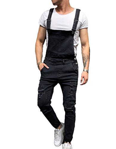 Fashion Mens Overalls Skinny, Denim Vintage Ripped Trousers Slim Fit...
