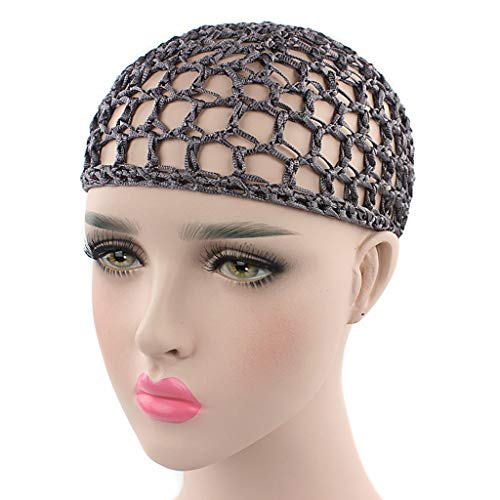 Haptian Filet À Cheveux, Womens Mesh Hair Net Crochet Cap Solid Color Snood Sleeping Night Cover Turban 13#