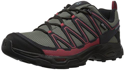 Salomon Women's Pathfinder ClimaSheild Waterproof Hiking Shoes, Castor Gray/Phantom/Mineral Red, 8.5 M US