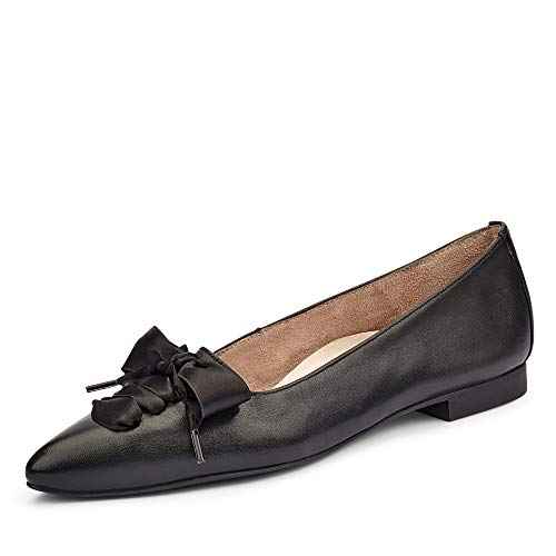 Paul Green Damen Schnürballerina 3731, Frauen Klassische Ballerinas, Business geschäftsreise geschäftlich büro Flats elegant,Black,39 EU / 6 UK