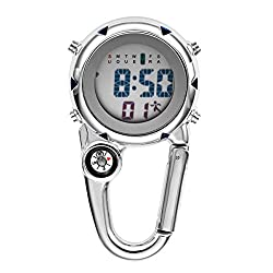 professional Multi-function digital clock with snap hook, backpack, key chain Clock for men and women with alarm …