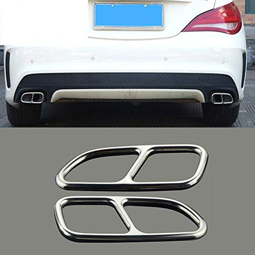 LQIAN Car Styling Automobil Schwanz Throat Dekorrahmen gepasst Fit for Mercedes Benz CLA C117 Auspuff Trim Covers Aufkleber Zubehör for Autoteile (Color Name : Silver)