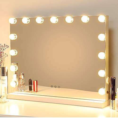 MEIDOM Hollywood Spiegel Make-up-Spiegel mit LED-Lichtern, Touch-Steuerung, großer Kosmetikspiegel mit Dimmer-LED-Leuchten, Kosmetikspiegel mit Beleuchtung, Schminkspiegel mit 15 Lichter, Weiß