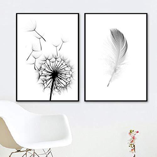 Diente de león Pluma Arte de la pared Pintura en lienzo Carteles e impresiones nórdicos Arte en lienzo Imágenes de pared en blanco y negro para decoración de sala de estar-40X50cmx2 Sin marco
