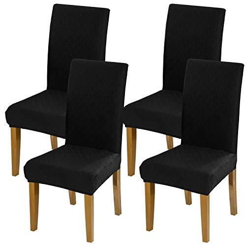 YISUM Moderne Stretch-Bezüge für Esszimmerstühle, abnehmbar, waschbar, Elastan, Schonbezüge für hohe Stühle, 4er- oder 6er-Pack, Schwarzes Jacquard-Muster, 4 PCS/Packet
