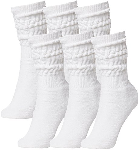 Brubaker Unisex 6er Pack Slouch Socken für Fitness Workout Yoga Gymnastik Wellness Weiss Gr. 39/42