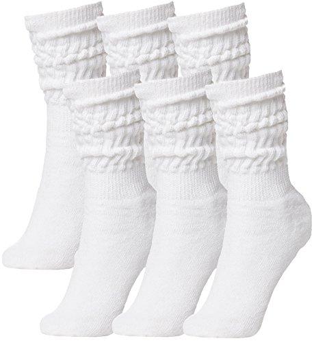 Brubaker Unisex 6er Pack Slouch Socken für Fitness Workout Yoga Gymnastik Wellness Weiss Gr. 39/42
