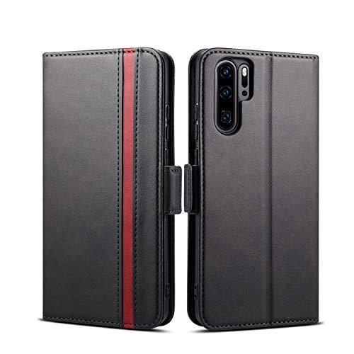 Rssviss Hülle für Huawei P30 Pro Handyhülle Huawei P30 Pro PU Leder Hülle 3 Kartenfächer Premium PU Leder Schutzhülle mit Magnetverschluss für Huawei P30 Pro Ledertasche Flip Hülle 6,47 Zoll Schwarz