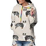 homect Sudadera con Capucha para niñas y Mujeres, Estilo túnica Informal Perros pastores australianos S