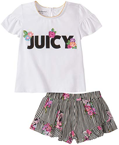 Juicy Couture Girls' 2 Pieces Shorts Set, White/Stripes Print, 6