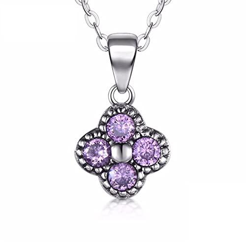 Freaiaqy Collar de circonita púrpura con trébol de Flores de Plata de Ley 925 sólida, Colgante de Moda Simple para Mujer, Regalo de joyería de Navidad