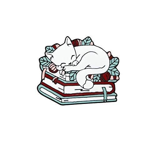 Bonito broche para dormir con gato, precioso Animal, Pin esmaltado, alfileres de solapa, broches de moda, joyería, regalo de Año Nuevo para amigos