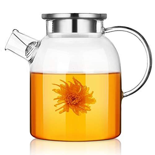 Teiera di Vetro, CNNIK 1.8L Brocche in vetro borosilicato con coperchio in Acciaio inossidabile, Caraffe per acqua calda/fredda/ghiaccio tè vino caffè latte e succo di bevanda