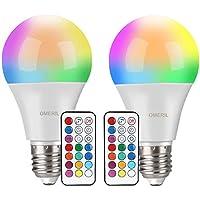 Bombilla LED Colores (2 Pack), OMERIL RGBW Bombilla LED E27 10W con Control Remoto, Función de Temporización y Memoria, 12 RGB Colores, Luz Ambiente Regulable para Hogar, Decoración, Bar, Fiesta, KTV