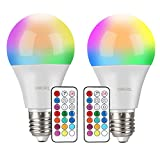 Ampoules LED Couleur (Lot de 2), OMERIL 10W RGBW Dimmable LED Bulbs E27 Télécommande...