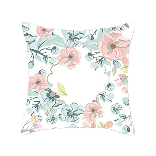 A/N Funda Lavable de Almohada Estampada Funda Estilo Simple Floral 45 x 45cm Cuadrada de Almohada de cojín Funda de Almohada Moderna Decorativa de hogar