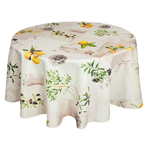 Valia Home Tischdecke Tischtuch Tafeldecke schmutzabweisend wasserabweisend Lotuseffekt pflegeleicht eckig in verschiedenen Größen und Designs (Mediterran, rund 140 cm)