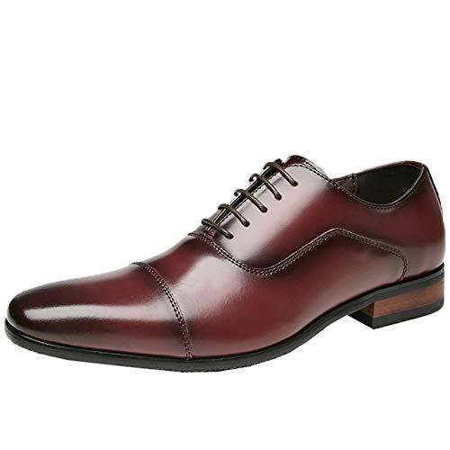 Zapatos Oxford para Hombre, Elegantes, Puntiagudos, de Color sólido, con Cordones, Zapatos Formales Bajos, Antideslizantes, Transpirables, Zapatos clásicos de Cuero para Traje Formal