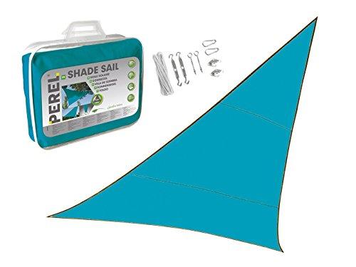 Zonnezeil driehoek 5m kleur blauw met praktische oogjes montageset - zonwering voor uw tuin/balkon!