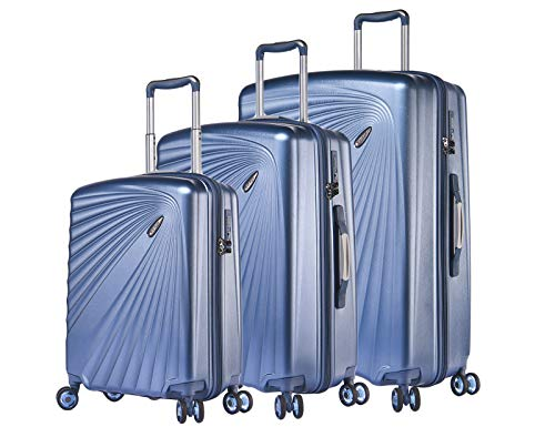 ABISTAB VERAGE Kinetic 4-Doppel-Rolle Kofferset, TSA, erweiterbar, leicht, ABS/PC Trolley-Set 3 teilig S-M-L, große Hartschalen-Koffer mit Handgepäck, Blau